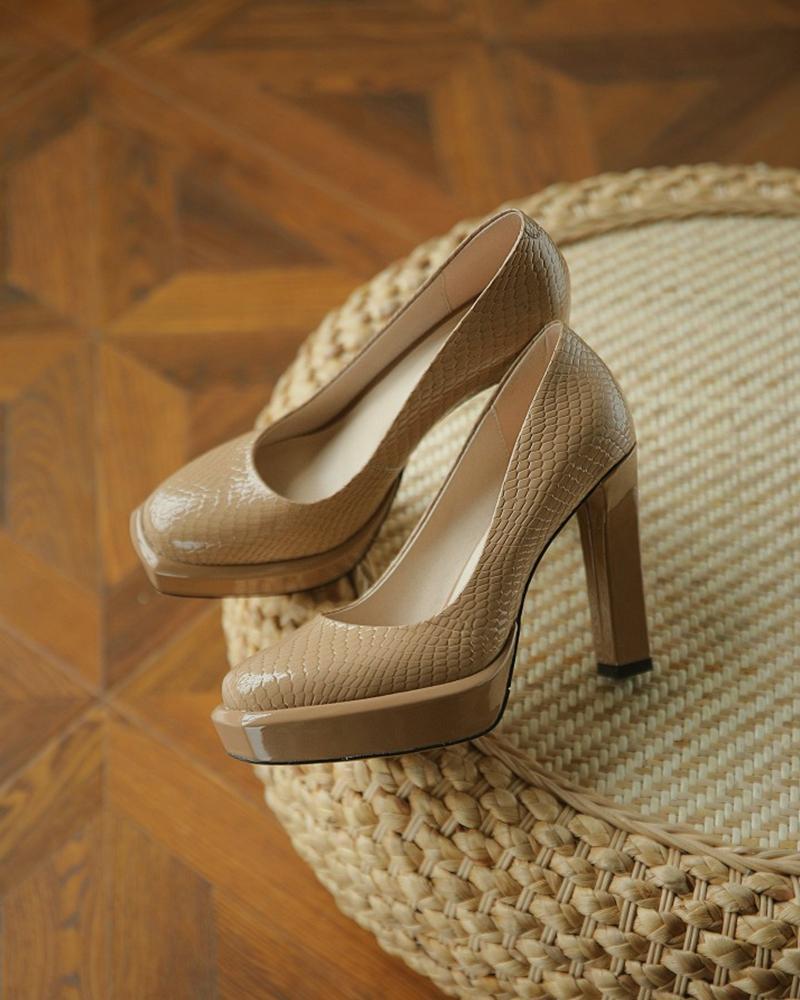 Snakeskin Pattern Square Toe Platform Chunky Heels