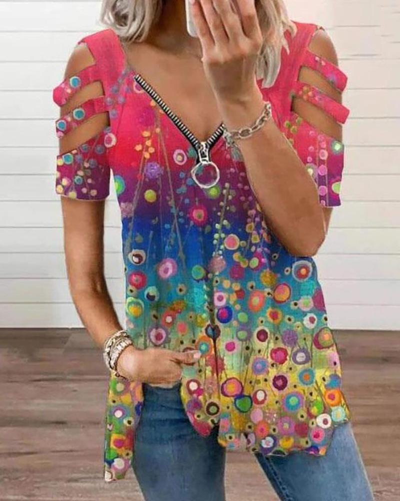 Zip Front Colorblock Cutout Sleeve T-shirt