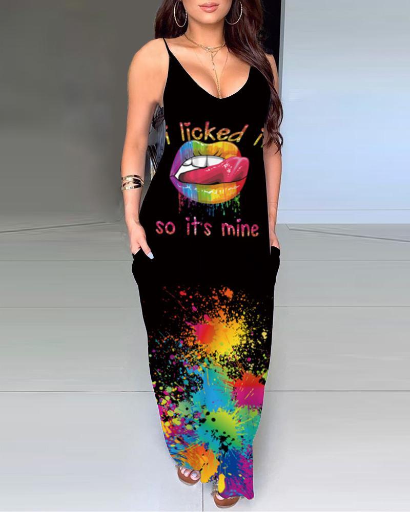Multicolor Lip & Letter Print Splicing Ink Splash Sling Maxi Dress thumbnail