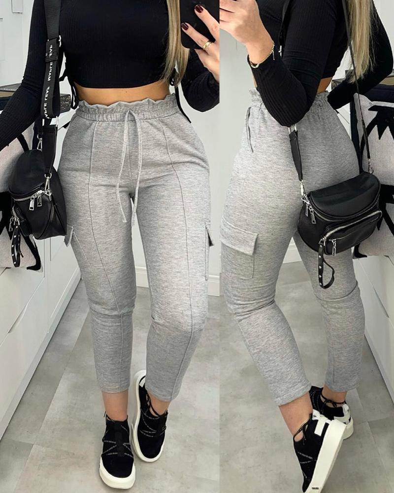 High Waist Frill Hem Pocket Design Casual Pants