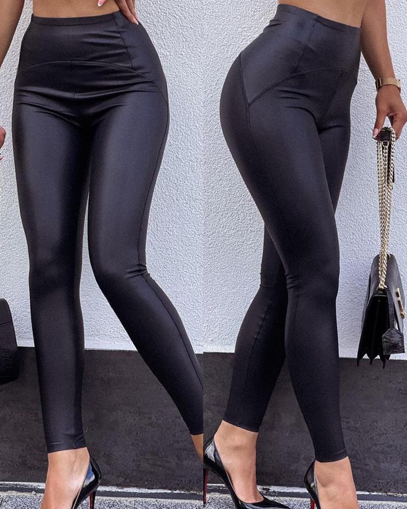 Pantalones pitillo de cuero PU