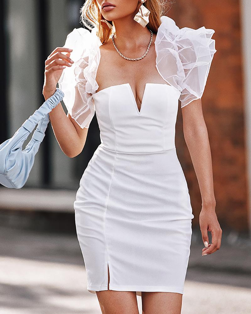 Ruched Sheer Mesh V Cut Slit Bodycon Dress