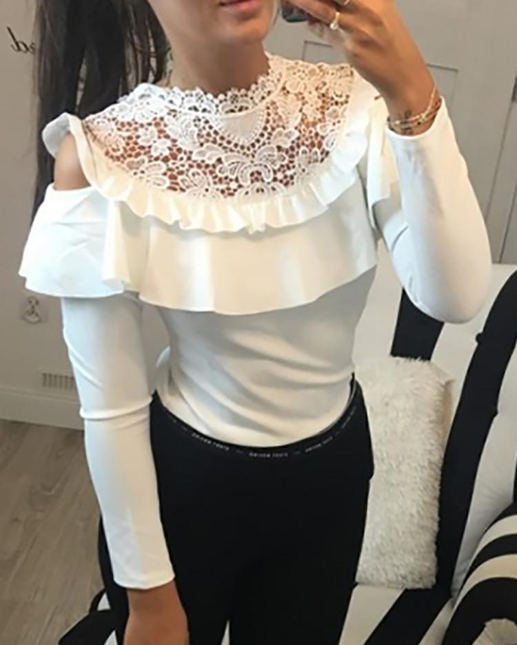 Ruffled Cold Shoulder Crochet Lace Blouse