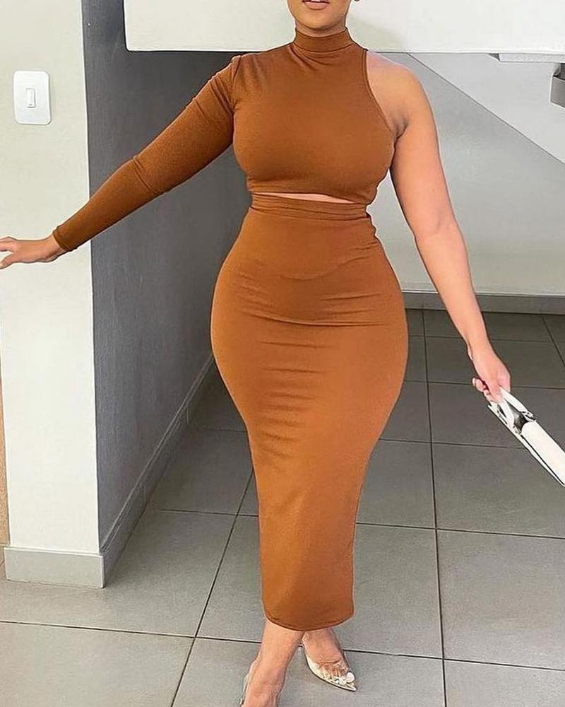 One Shoulder Crop Top & Skinny Skirt Set