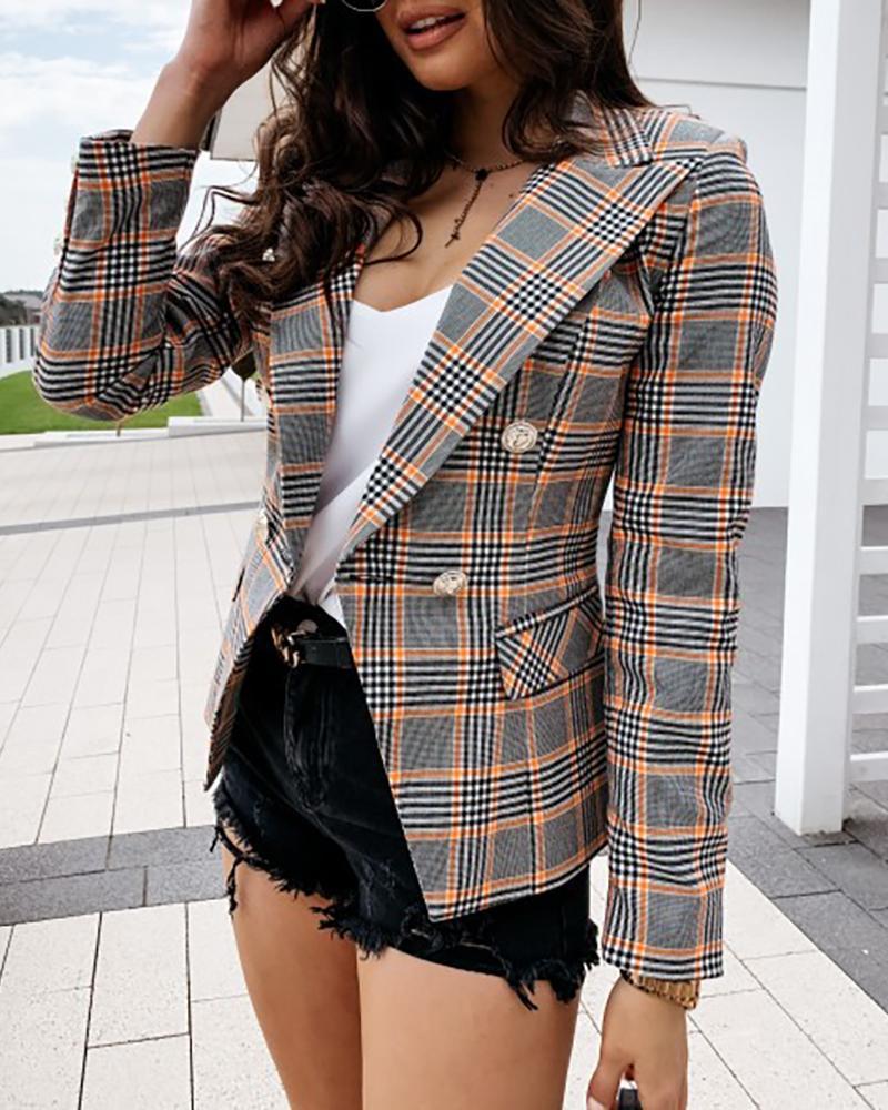 Plaid Pattern Button Design Blazer Coat