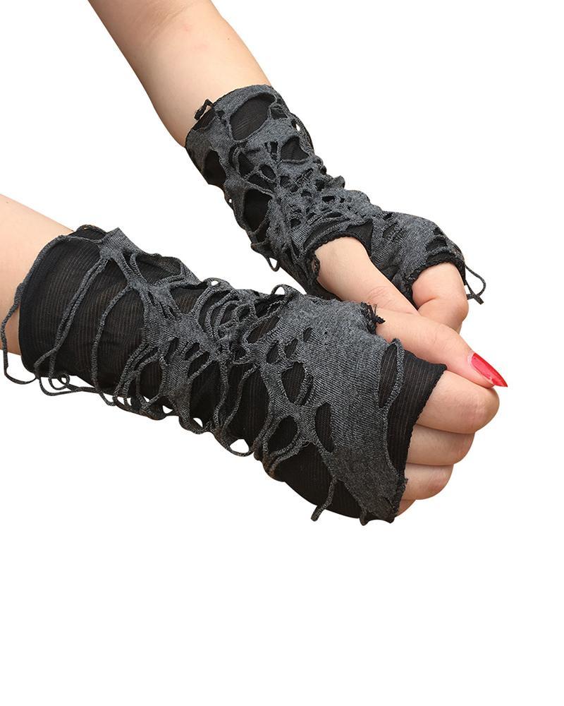 Halloween Punk Cutout Design Fingerless Gloves
