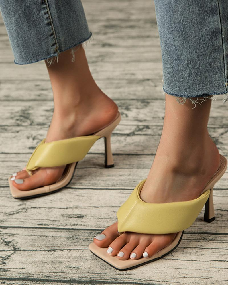 Square Toe Solid Color Toe Post High Heels