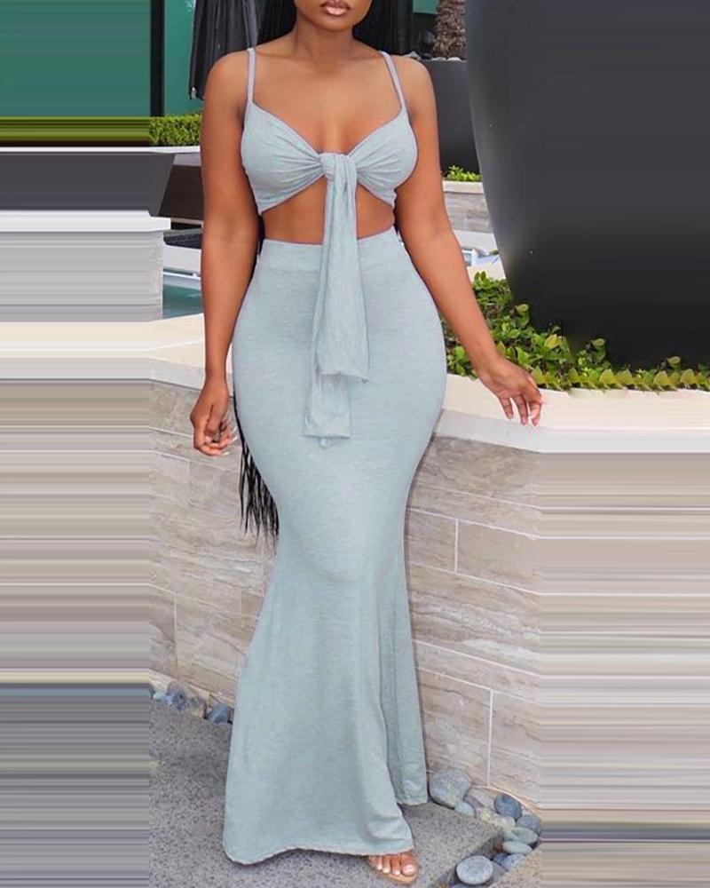 Spaghetti Strap Knotted Crop Top & Maxi Skirt Set