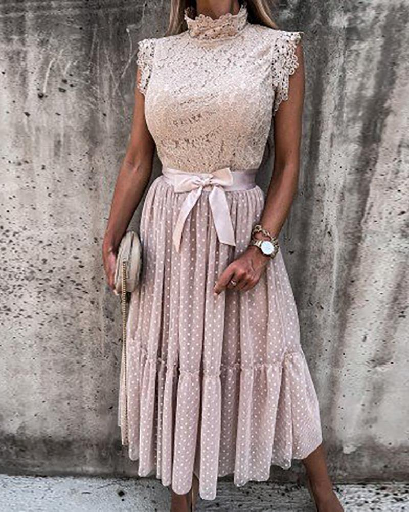 Crochet Lace High Neck Dot Mesh Casual Dress