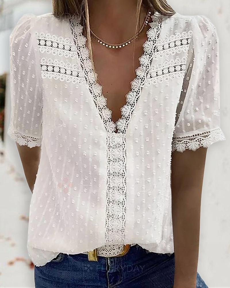 Guipure Lace V Neck Short Sleeve Top