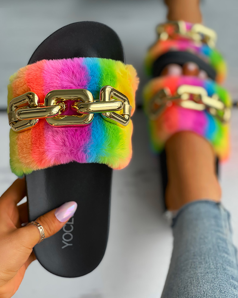 Colorful Fluffy Chain Strap Slide Slippers
