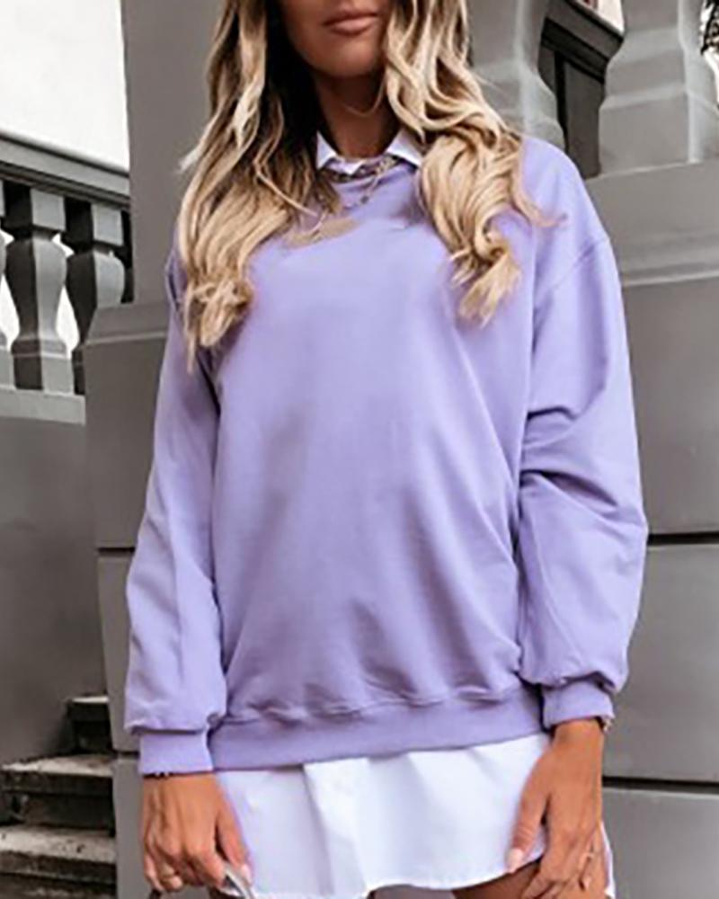 Long Sleeve Solid Casual Sweatshirt