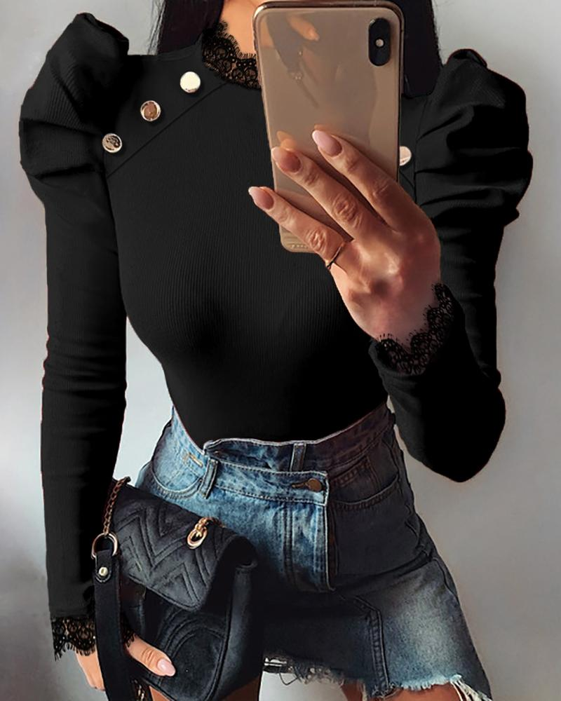 Puffed Sleeve Solid Ribbed Blouse