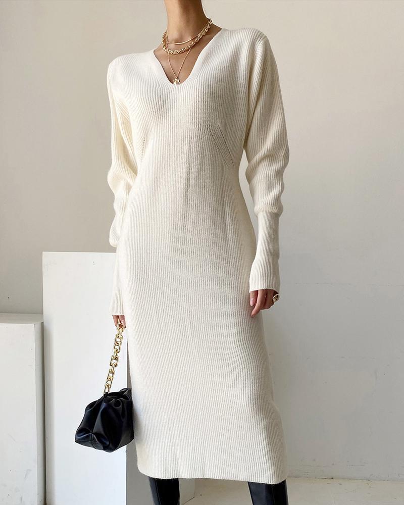 Vestido estilo suéter de punto grueso de manga larga