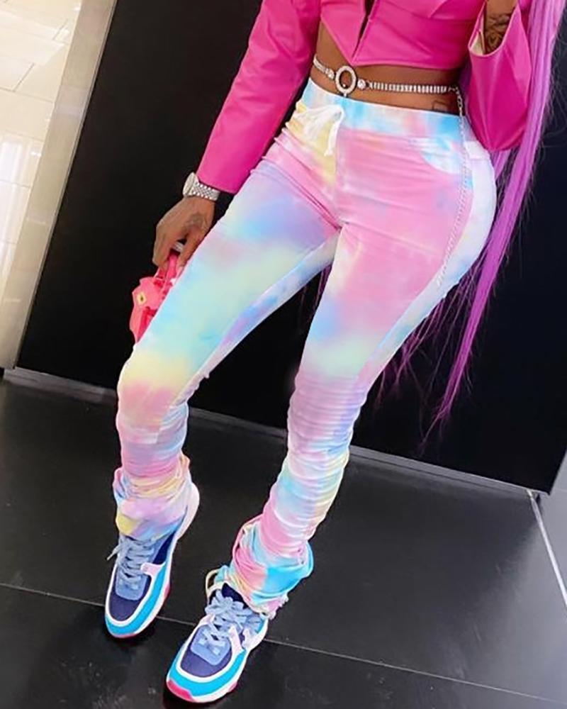 Pantalon skinny froncé à cordon de serrage et imprimé tie-dye