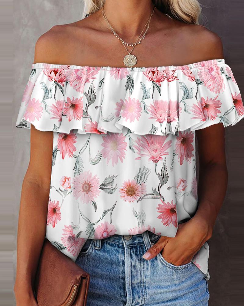 Off Shoulder Floral Print Ruffles Top