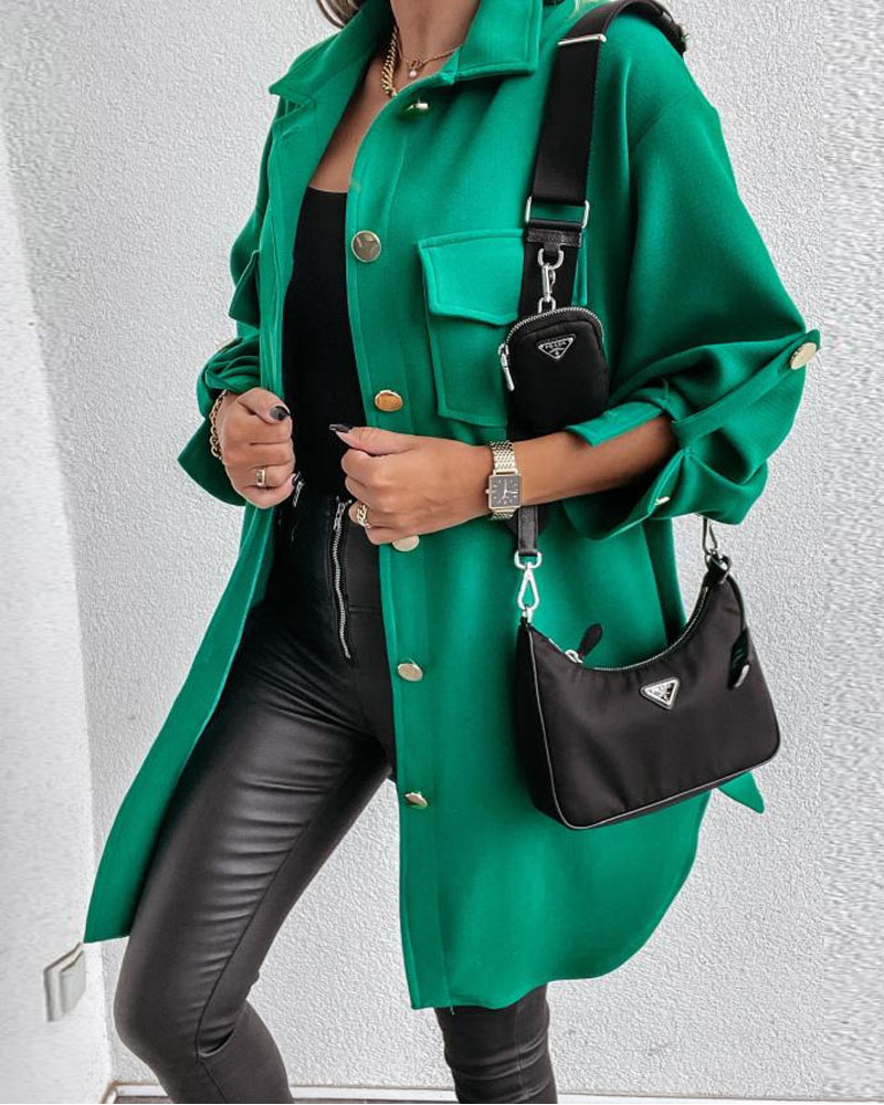 Roll Up Sleeve Flap Pocket Buttoned Shacket