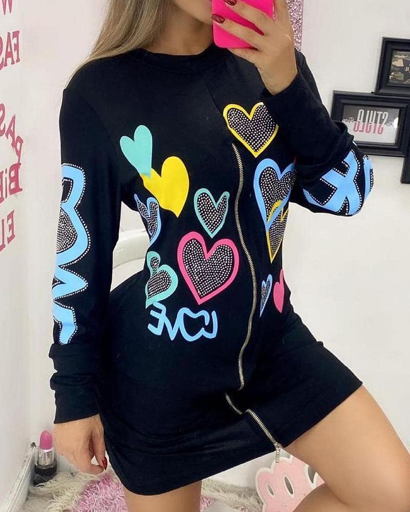 Heart Print Studded Zip Front Bodycon Dress