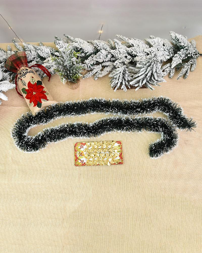Christmas Garland Snow Flocked Artificial Wreath With Bowknot Xmas Decorations For Stairs Fireplaces Wall Door