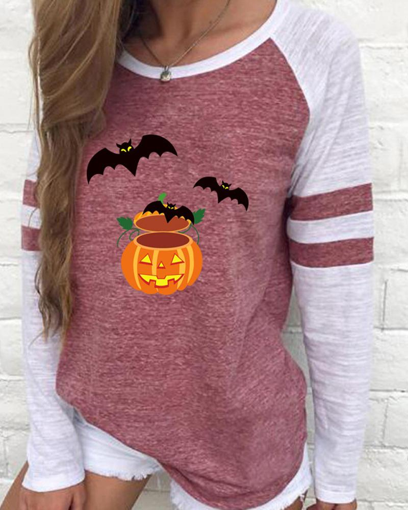Halloween Pumpkin Batwing Pattern Colorblock Long Sleeve Top