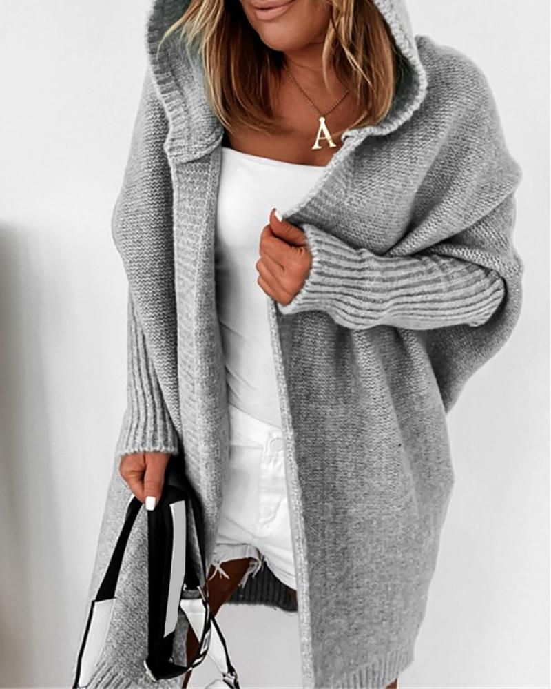 Batwing Sleeve Open Front Hooded Cardigan