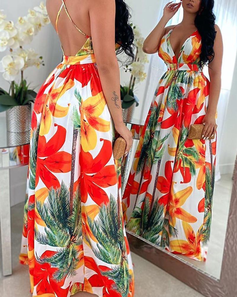 Floral Print Backless Maxi Dress