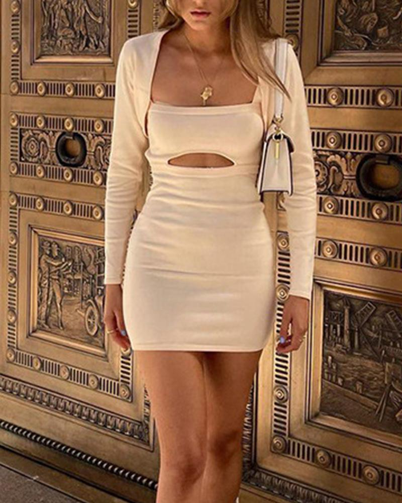 Solid Rib-knit Cut-Out Open Back Bodycon Dress & Crop Open Front Coat Set