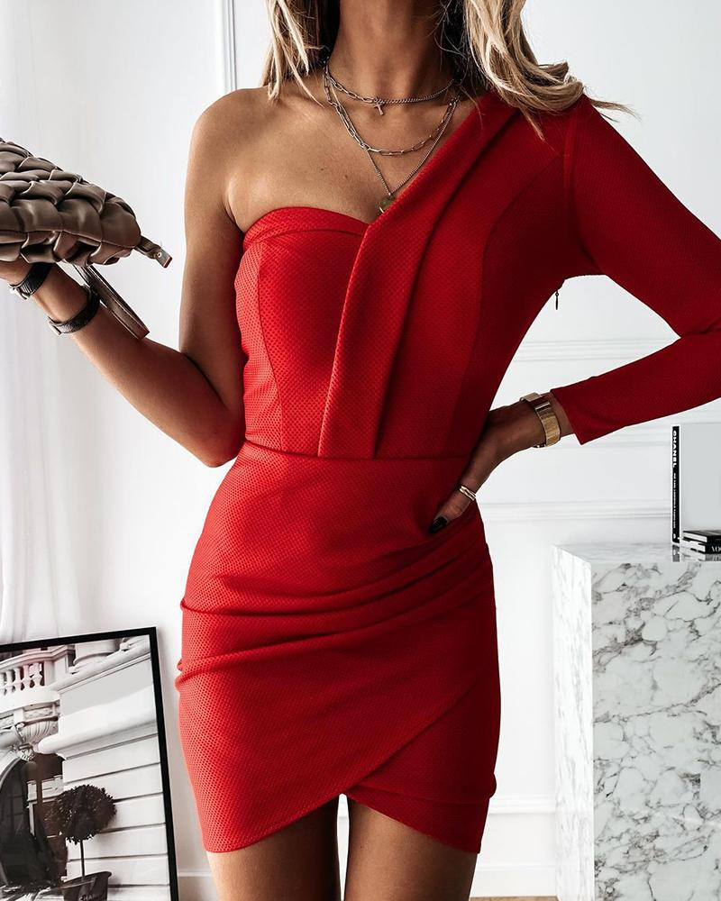 One Shoulder Ruched Long Sleeve Bodycon Dress