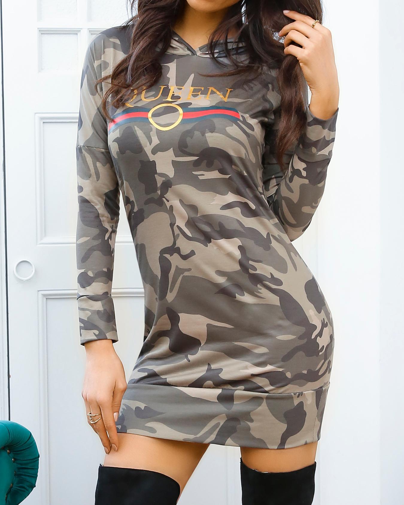 Stylish Camouflage Print Casual Hoodie Dress