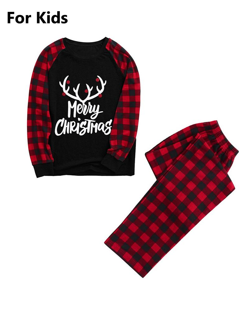 Christmas Letter Print Plaid Top & Pants Set For Kids