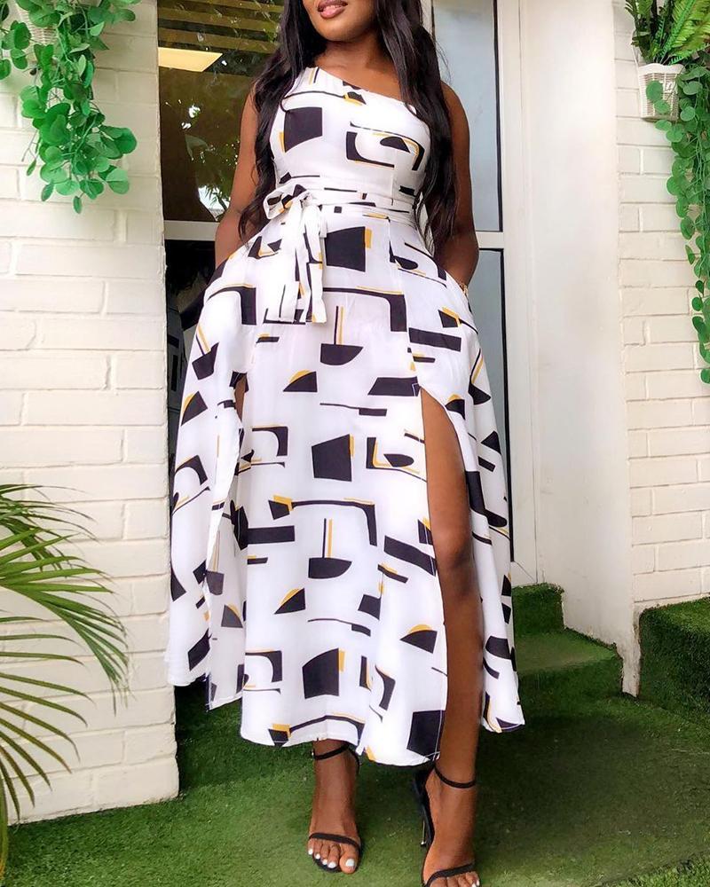 One Shoulder Colorblock High Slit Dress thumbnail