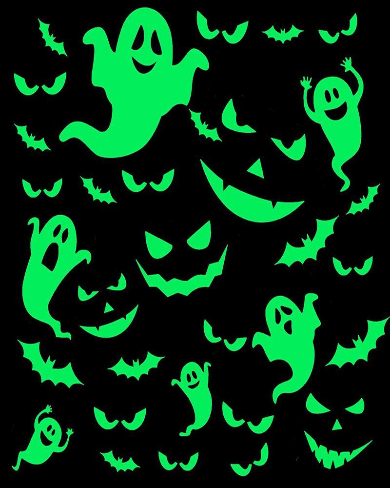 Halloween Glow in The Dark Window Decals Luminous Stickers Ghost Wall Stickers Bat Wall Stickers Night Glow Decals for Halloween Theme Party, Lvs green