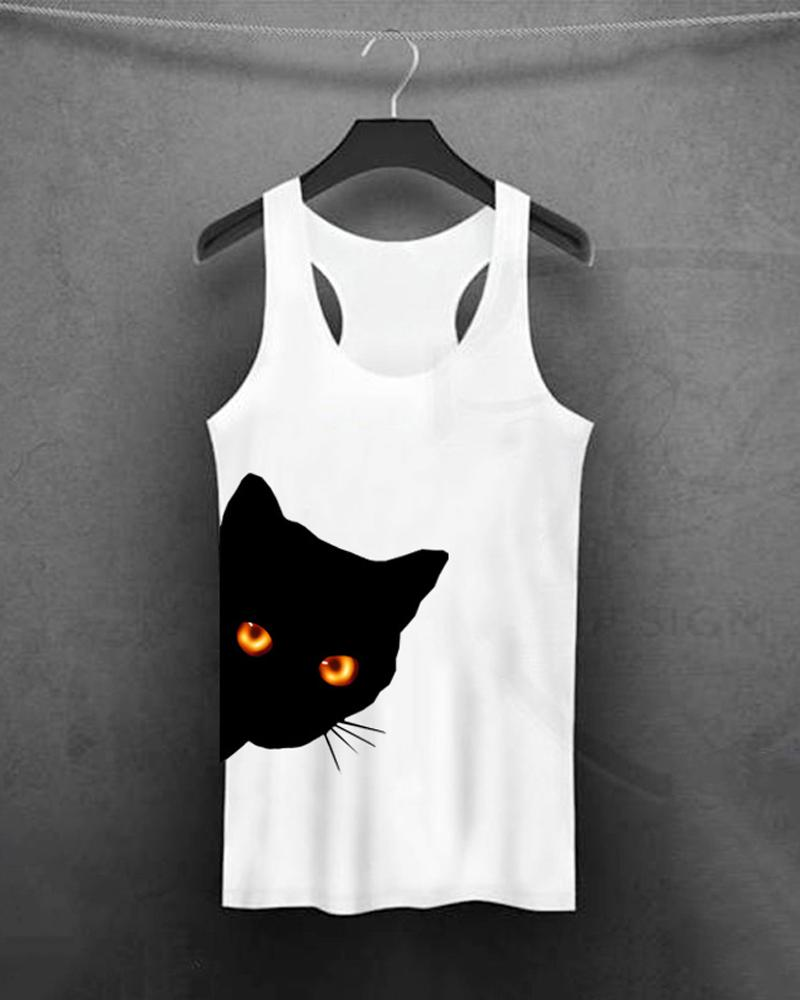 Black Cat Black Hole Eye Print Tee