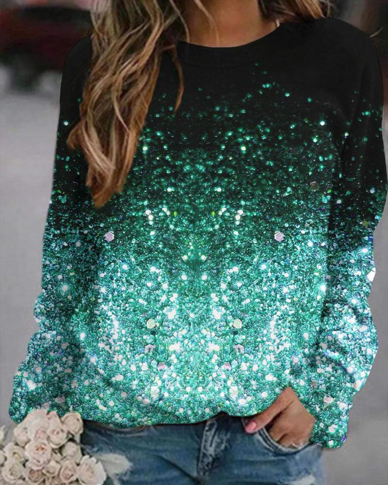 Ombre Galaxy Print Long Sleeve Sweatshirt