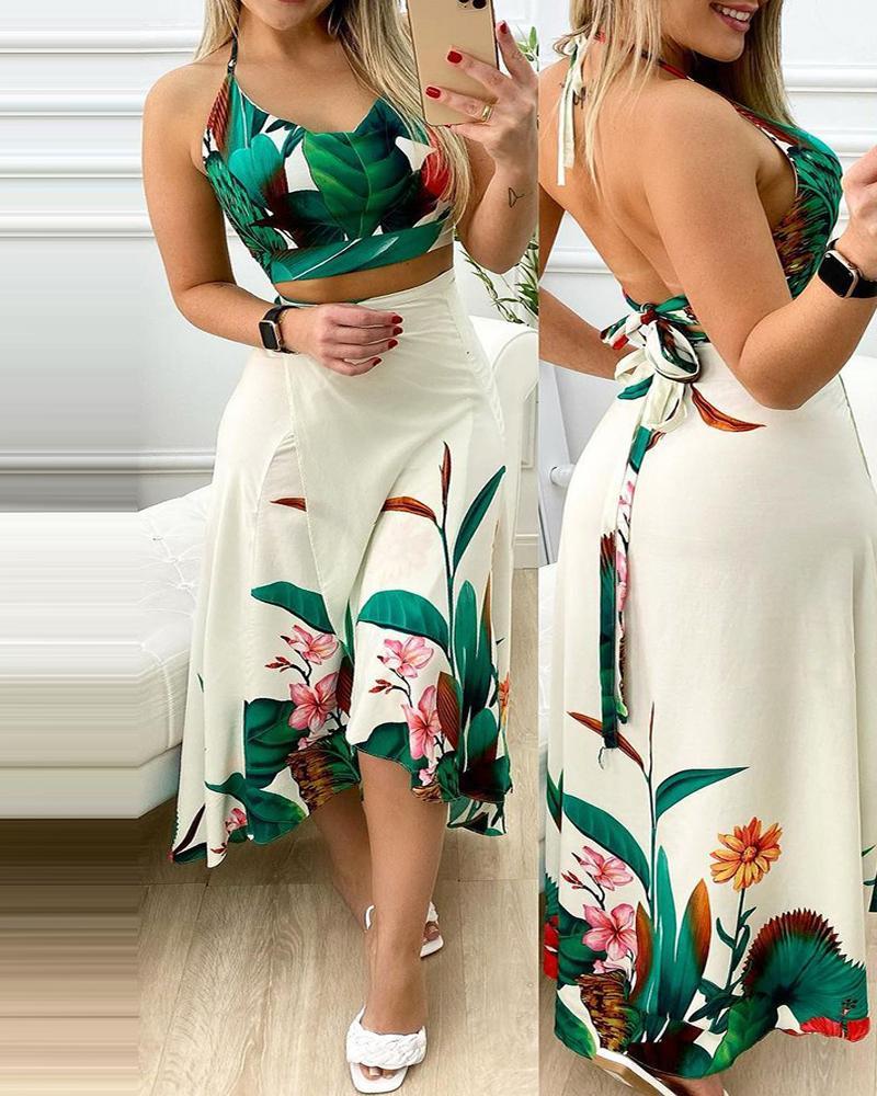Tropical Print Halter Top & Midi Skirt Set thumbnail