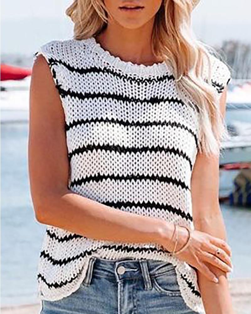 Haut en tricot décontracté sans manches à imprimé rayé