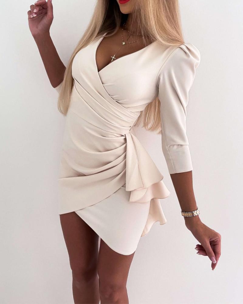 Solid Long Sleeve Slim Waist Mini Dress