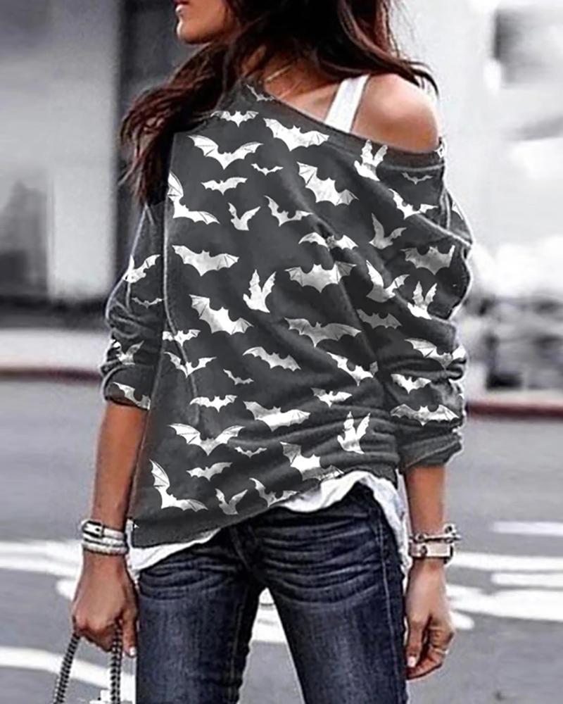 One Shoulder Halloween Bat Print Cozy Sweatshirt