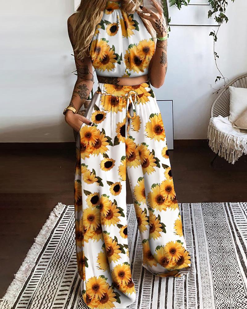 Halter Sunflower Print Top & Drawstring Pocket Design Pants Set