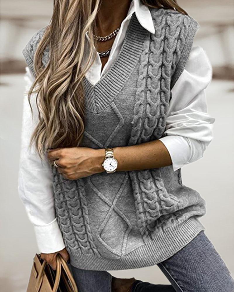 Braided Knit V-neck Vest Sweater
