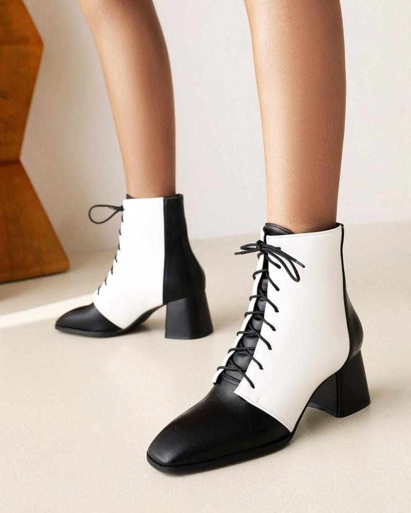 Ladies Square Toe Wax Finish Colorblock Lace-up Booties, White