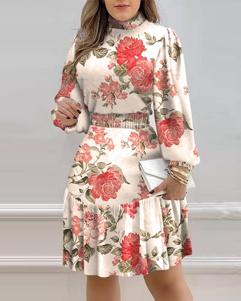 Floral Print Lantern Sleeve Shirred Ruffles Dress
