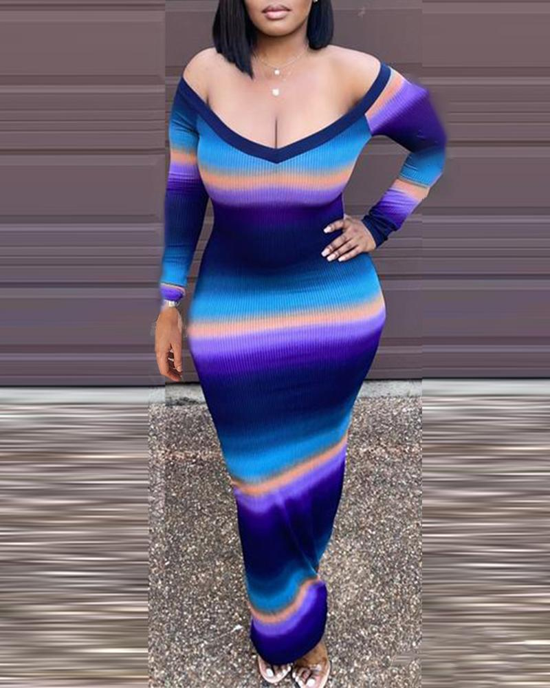 Ribbed Long Sleeve Ombre Colorblock Maxi Dress