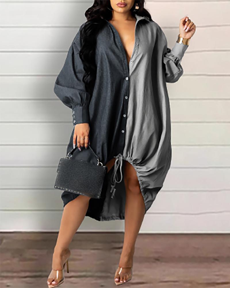 Lantern Sleeve Button Front Colorblock Denim Shirt Dress, Black