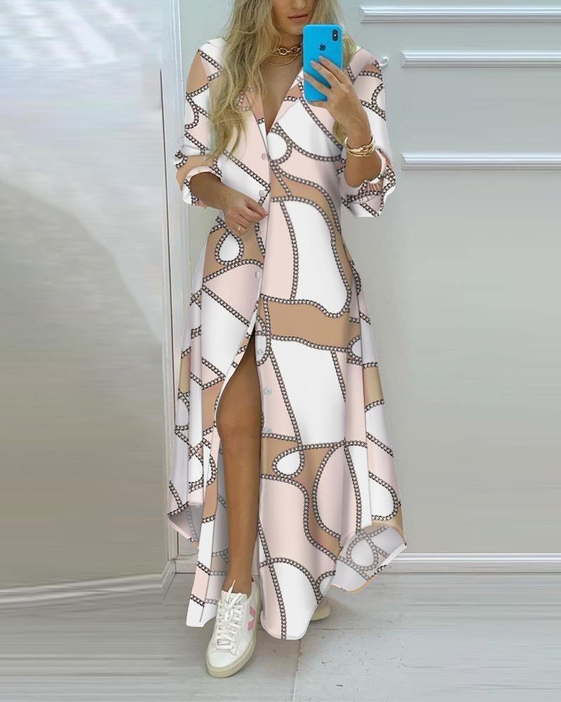 Chain Print Button Front High Slit Long Shirt Dress