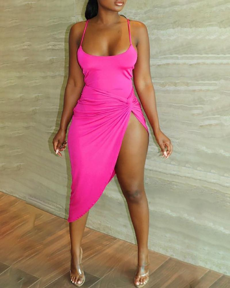 Sleeveless Twisted High Slit Ruched Dress