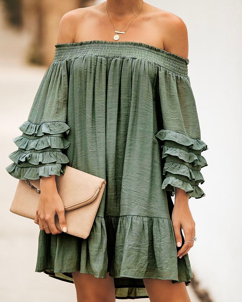Off-shoulder Ruched Dress