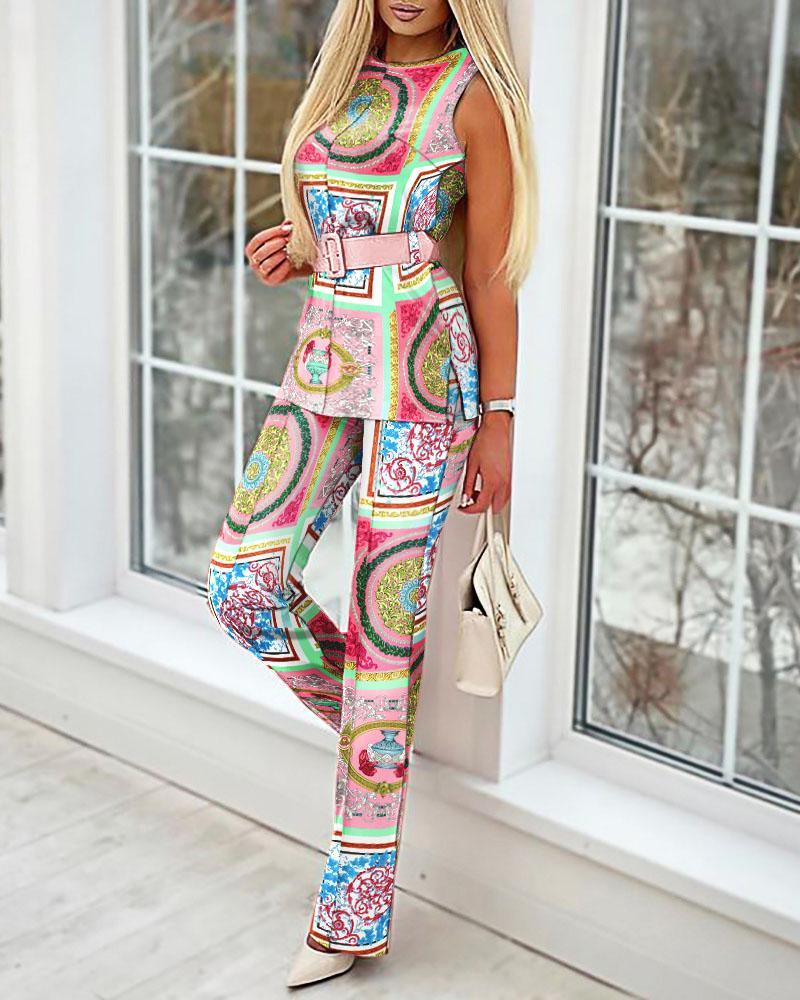 All Over Print Sleeveless Split Hem Top & Pants Set
