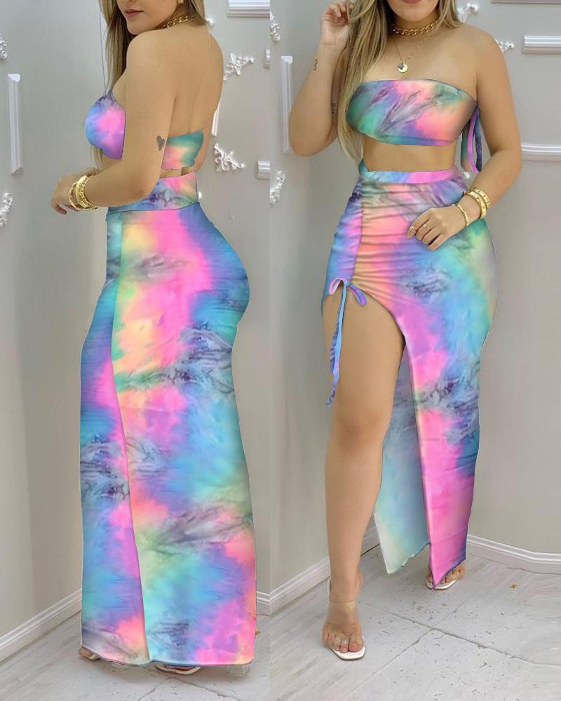 Tie Dye Print Bandeau Crop Top & Drawstring High Slit Skirt Sets