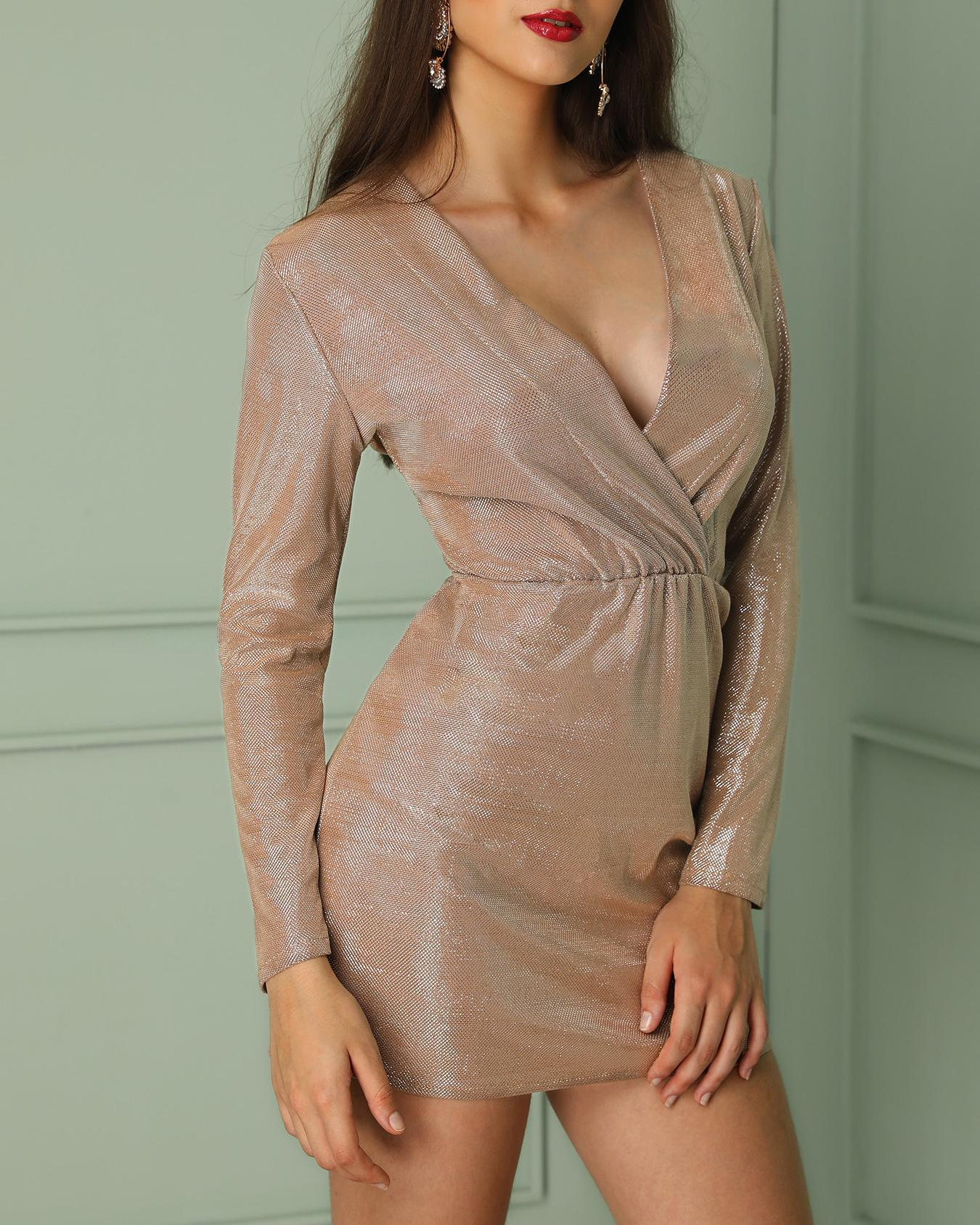 ChicMe coupon: Glittering Deep V Long Sleeve Bodycon Dress